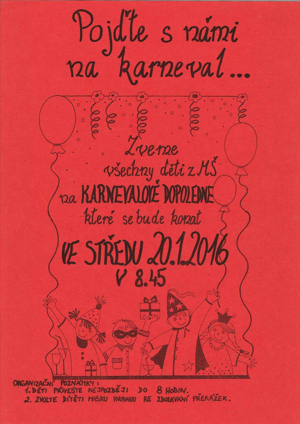 Pozvanka Na Karneval Ms Kamaradi