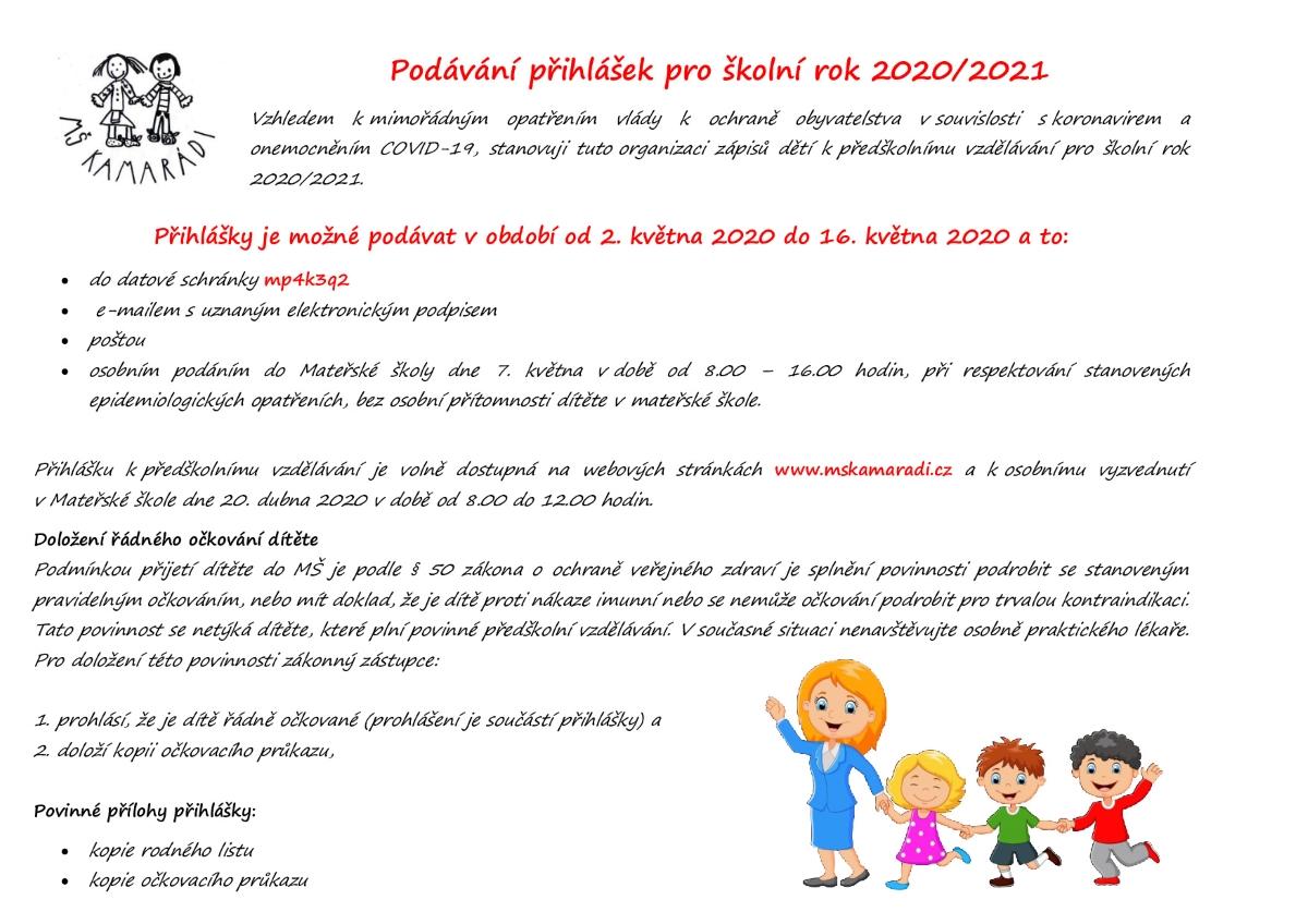 Zápis k předškolnímu vzdělávání pro školní rok  2020/2021